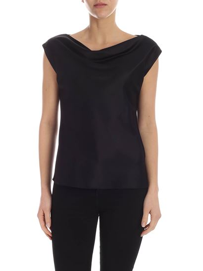 Theory - Stretch silk top in black