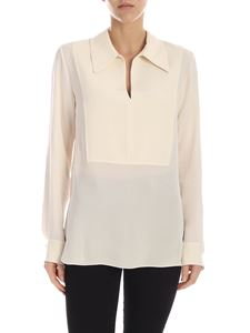 Theory - Yoke Popover blouse in ivory color