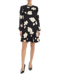 Theory - Printed silk dress in black