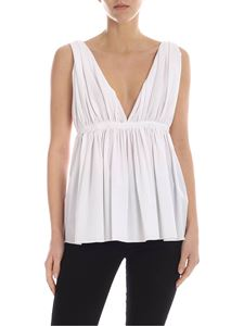 Rochas - Deep neckline top in white