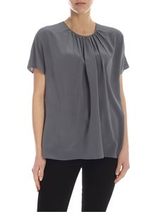 Rochas - Short sleeve silk blouse in grey
