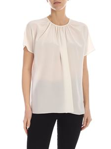 Rochas - Short-sleeved silk blouse in cream color