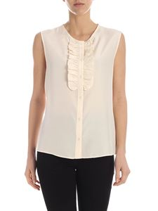 Aspesi - Pleated detail silk top in ivory color