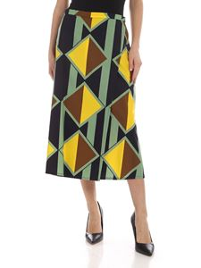 Aspesi - Geometric pattern multicolor midi skirt