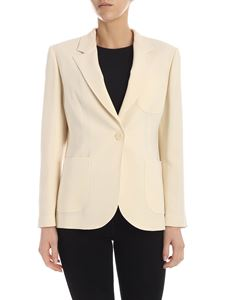 Aspesi - Single-breasted crepe jacket in cream color