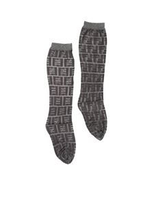 Fendi - Metallized socks with silver FF motif