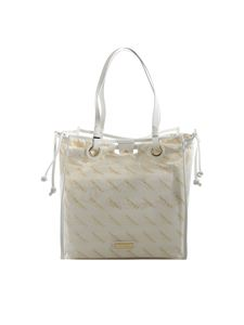 Twin-Set - Logo shoulder bag in transparent and white