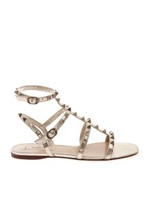 Valentino - Rockstud sandals in platinum color