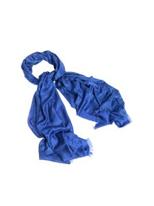 Elisabetta Franchi - Branded scarf in blue viscose