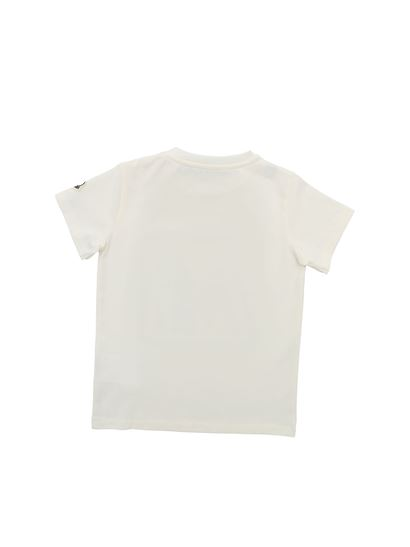 Moncler Jr - Blue and red logo print T-shirt in cream color