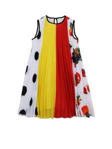 MSGM - Fruit print multicolor pleated dress