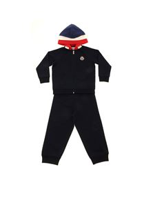 Moncler Jr - Tuta blu con patch logo