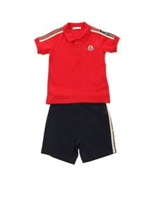 Moncler Jr - Branded bands tracksuit in red and blue
