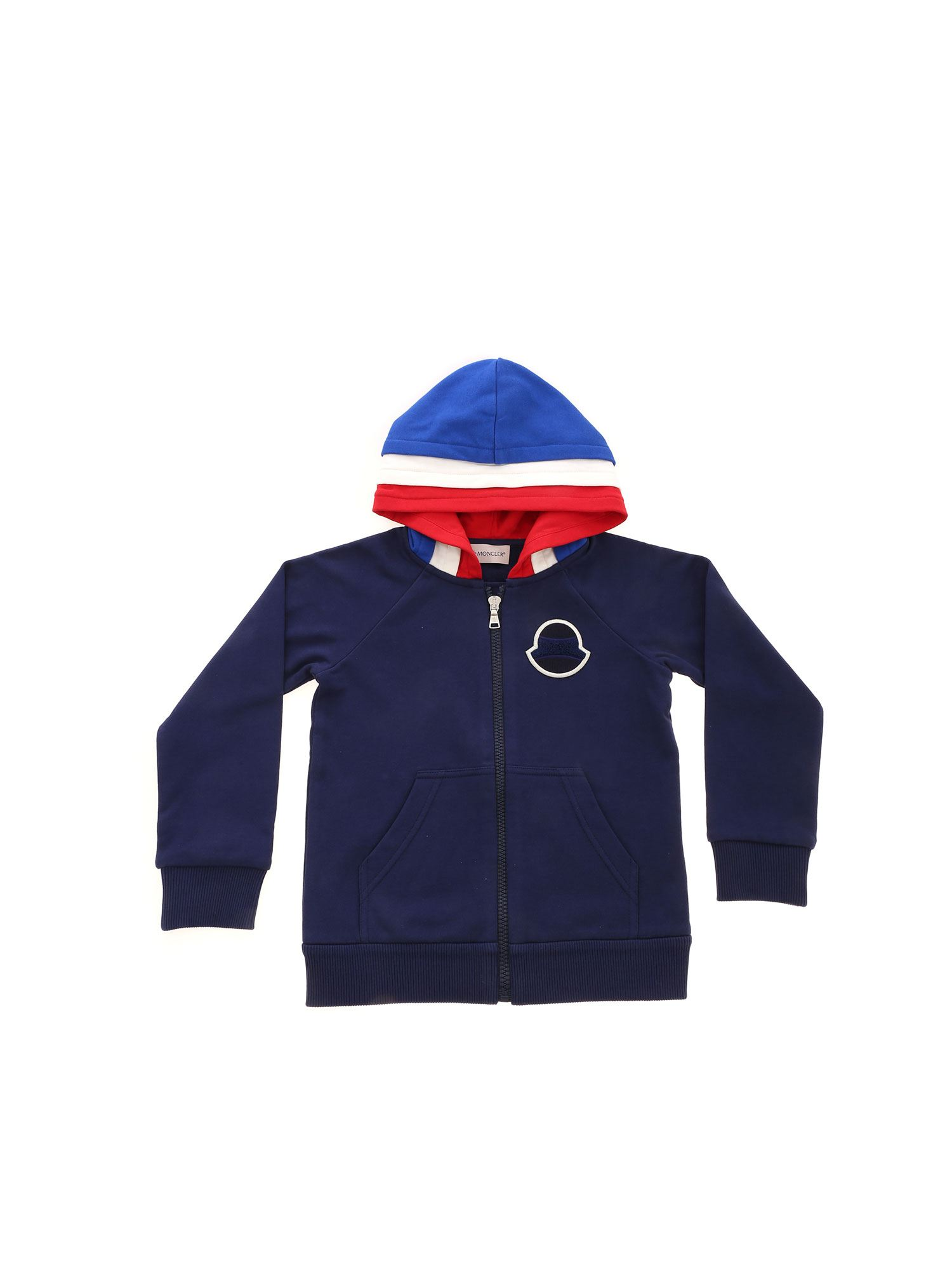 Moncler Jr Cottons TONE-ON-TONE LOGO PATCH SWEATSHIRT IN BLUE