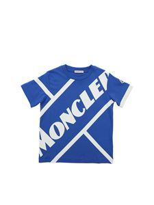 Moncler Jr - White maxi logo T-shirt in ocean blue