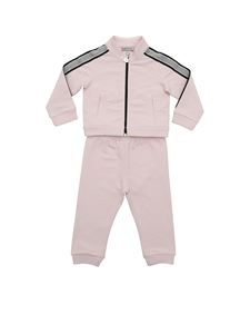Moncler Jr - Branded lamé bands tracksuit in powder pink