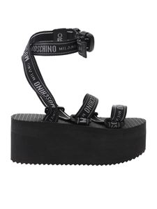 Moschino - Logo Tape wedge sandals in black