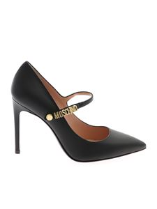 Moschino - Gold logo leather pumps in black