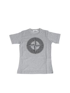 Stone Island Junior - Gray t-shirt with logo print