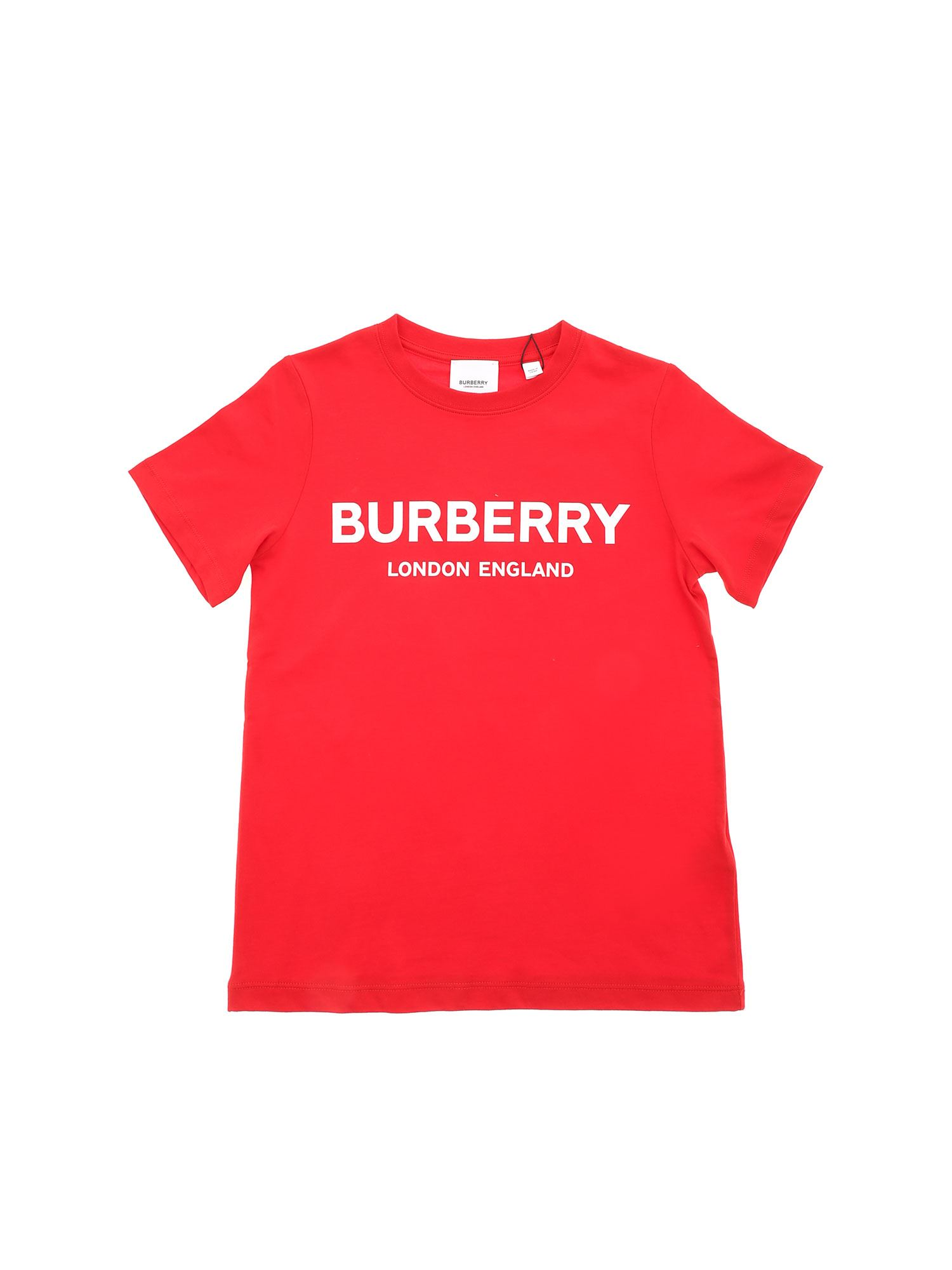 Burberry Kids' Robbie T-shirt In Red With White Logo