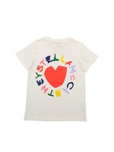 Stella McCartney Kids - Heart and Logo T-shirt in cream color