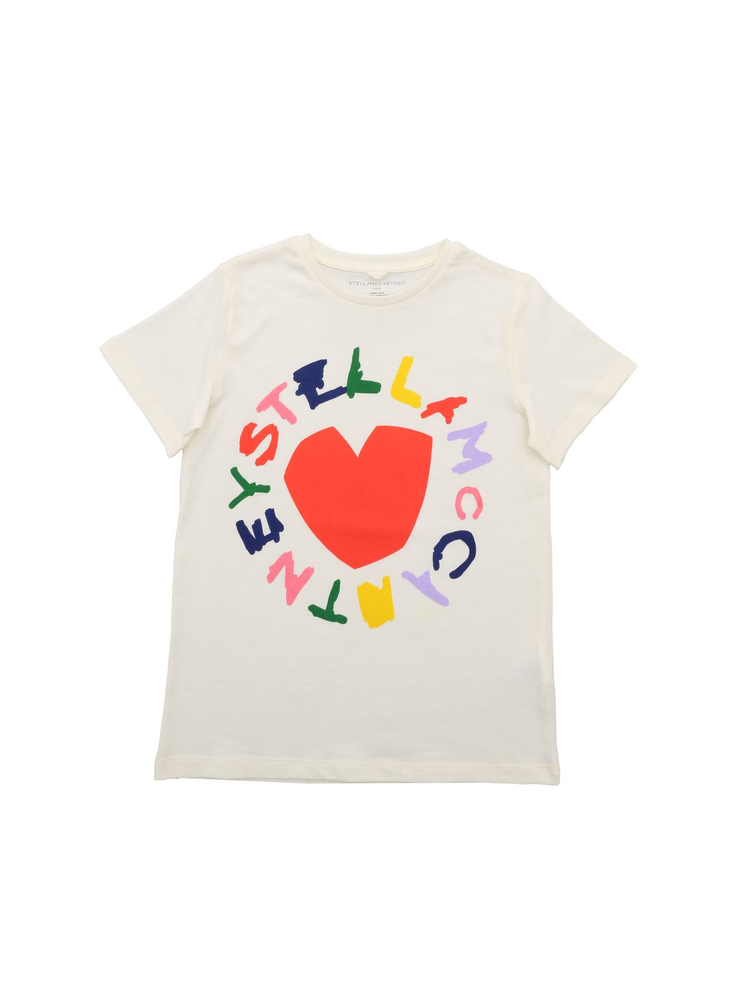 Stella Mccartney Kids' Heart And Logo T-shirt In Cream Color