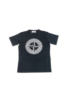 Stone Island Junior - Dark blue t-shirt with wind rose logo