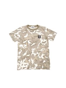 Stone Island Junior - Logo camouflage T-shirt in grey and white