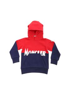 Moncler Jr - White logo print sweatshirt in red and blue