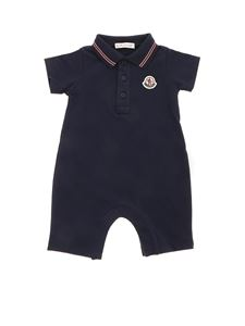 Moncler Jr - Logo patch romper suit  in blue