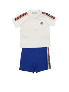 Moncler Jr - Logo tracksuit in cream and electric blue color