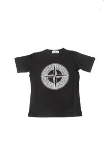 Stone Island Junior - Black T-shirt with Wind Rose Logo