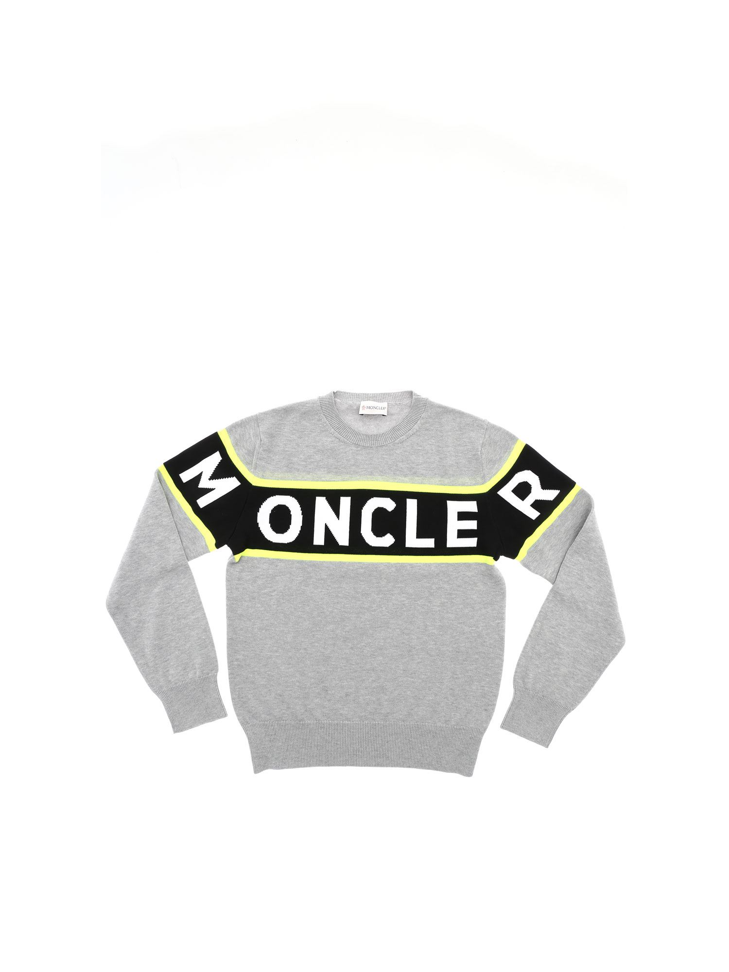 Moncler Jr Cottons LOGO INLAY PULLOVER IN GREY