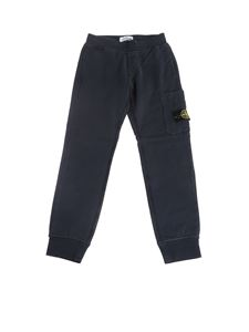 Stone Island Junior - Pantaloni in felpa con patch logo