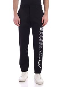 Moschino - Maxi laminated logo pants in black