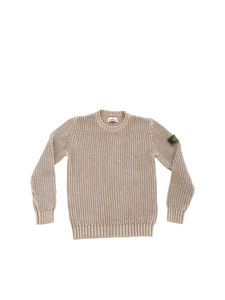 Stone Island Junior - Logo knitted pullover in melange sand color