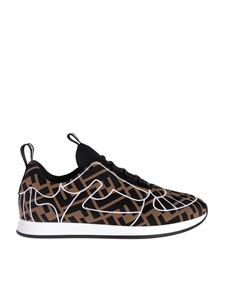 Fendi - FFreedom slip-on sneakers in brown and black