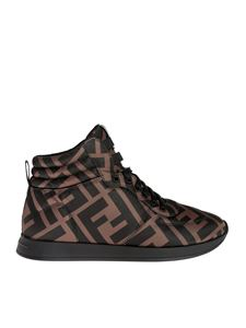 Fendi - High top sneakers in brown nylon