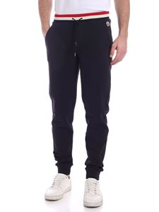 Moncler - Logo patch pants in blue