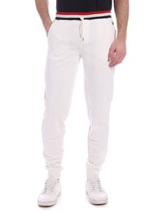 Moncler - Logo patch pants in cream color