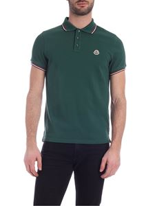 Moncler - Logo patch polo shirt in emerald green color