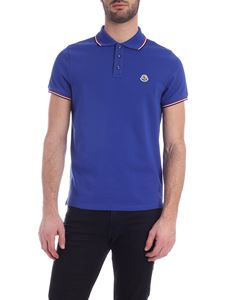 Moncler - Logo patch polo shirt in electric blue