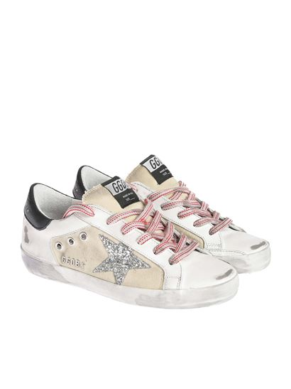 Golden Goose - Superstar sneakers with silver glitter logo
