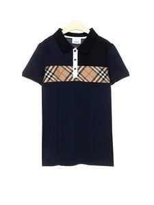 Burberry - Vintage check insert polo shirt in navy