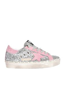 Golden Goose - Hi Star sneakers in silver glitter and pink star