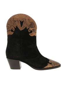 Paris Texas - Print inserts texan boots in black