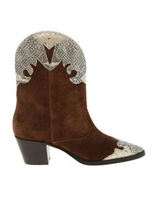 Paris Texas - Print inserts texan boots in brown