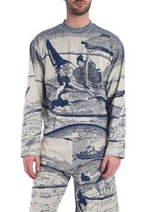 Kenzo - Photo print pullover in blue and cream