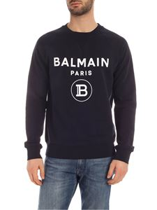 Balmain - Flock logo print sweatshirt in blue