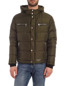 Balmain - Logo on the hood down jacket in Army green